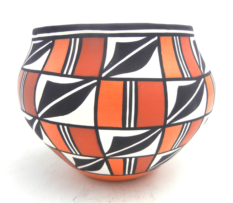 Acoma handmade and hand painted polychrome weather pattern jar by Loretta Joe