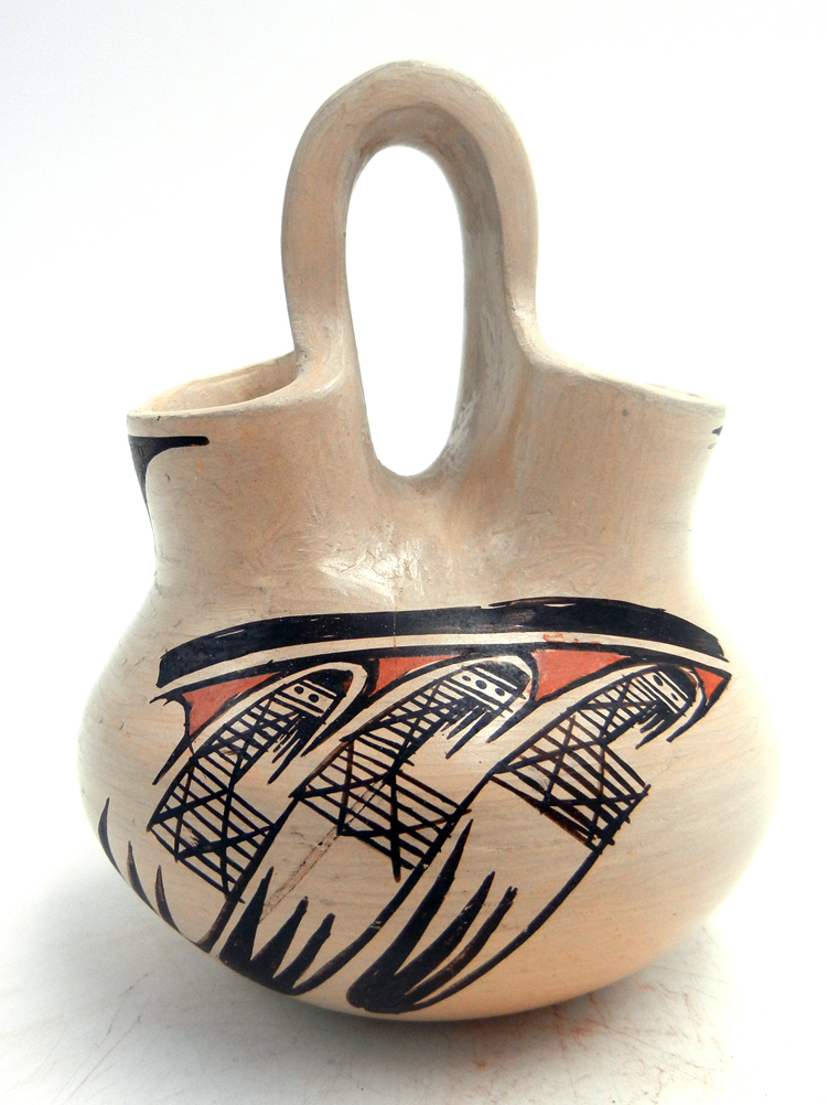 Hopi small handmade and hand painted migration pattern wedding vase by Adelle Nampeyo