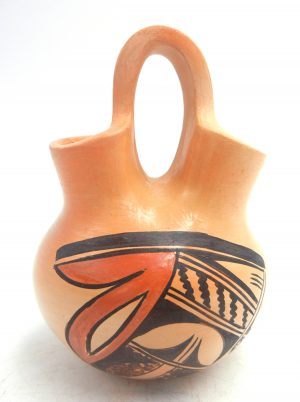 Hopi small handmade and hand painted traditional wedding vase by Adelle Nampeyo