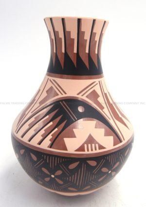 Jemez small polychrome parrot and feather pattern vase by Nadine Sandia
