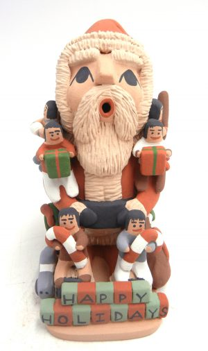 Jemez Santa storyteller with seven children by Deborah Kiki Loretto Seonia