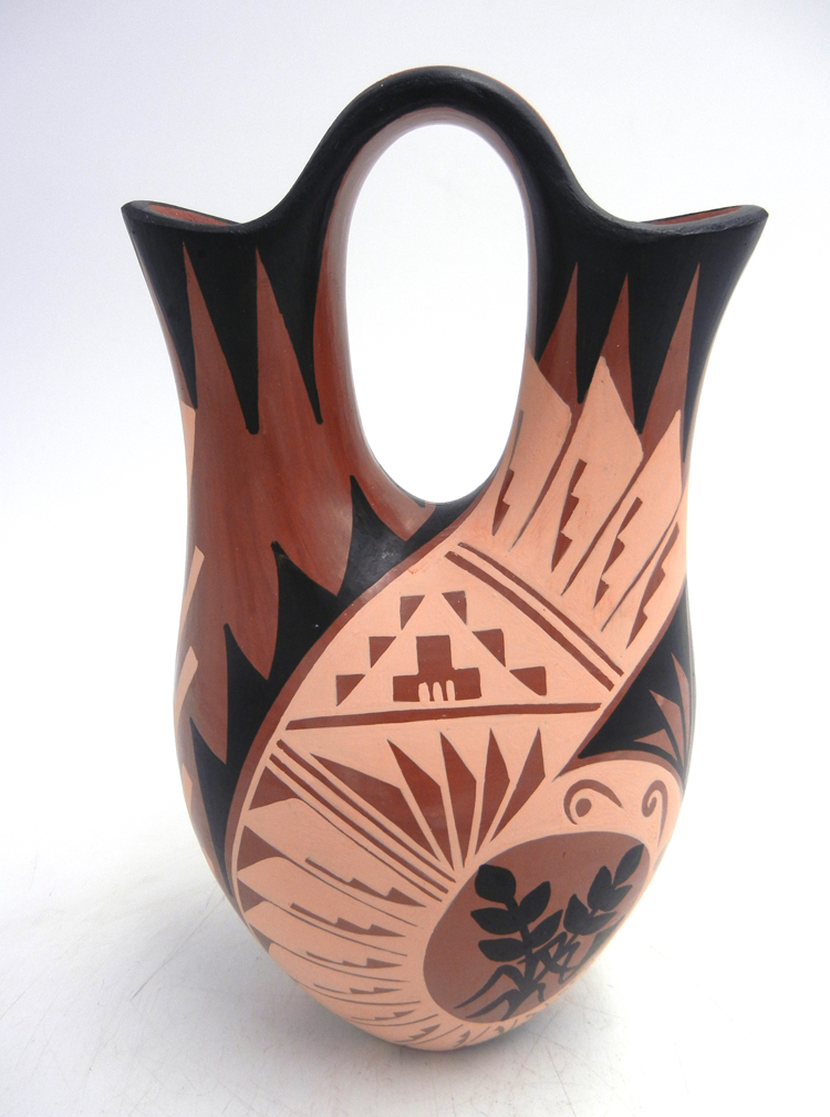 Jemez hand painted and polished polychrome wedding vase by Geraldine Sandia