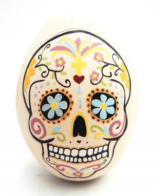 Mata Ortiz polychrome etched skull and flower vase by Mariela Tena Hernandez
