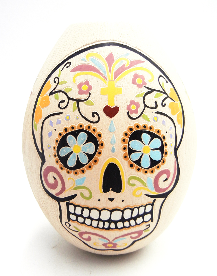 Mata Ortiz polychrome etched skull and flower vase by Mariela Tena Hernandez