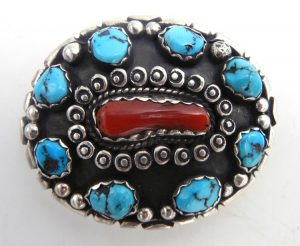 Navajo small turquoise, coral, and sterling silver belt buckle by Robert Yellowhorse