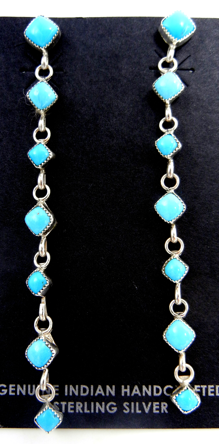 Navajo seven stone turquoise and sterling silver dangle earrings