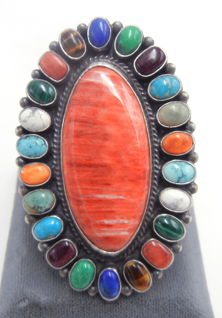 Navajo multi-stone and sterling silver large cluster ring