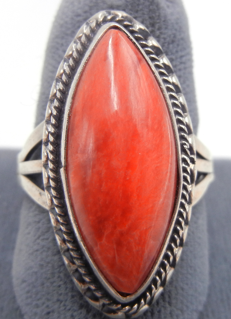 Navajo diamond shaped red spiny oyster shell and sterling silver ring by Will Denetdale