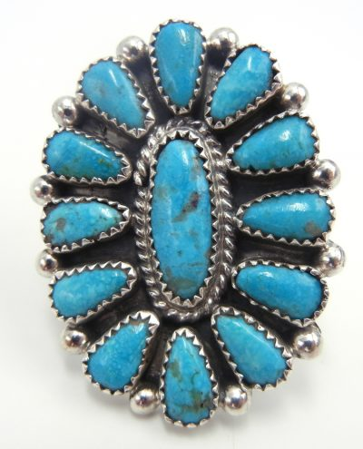 Navajo turquoise and sterling silver rosette ring by Mike Platero
