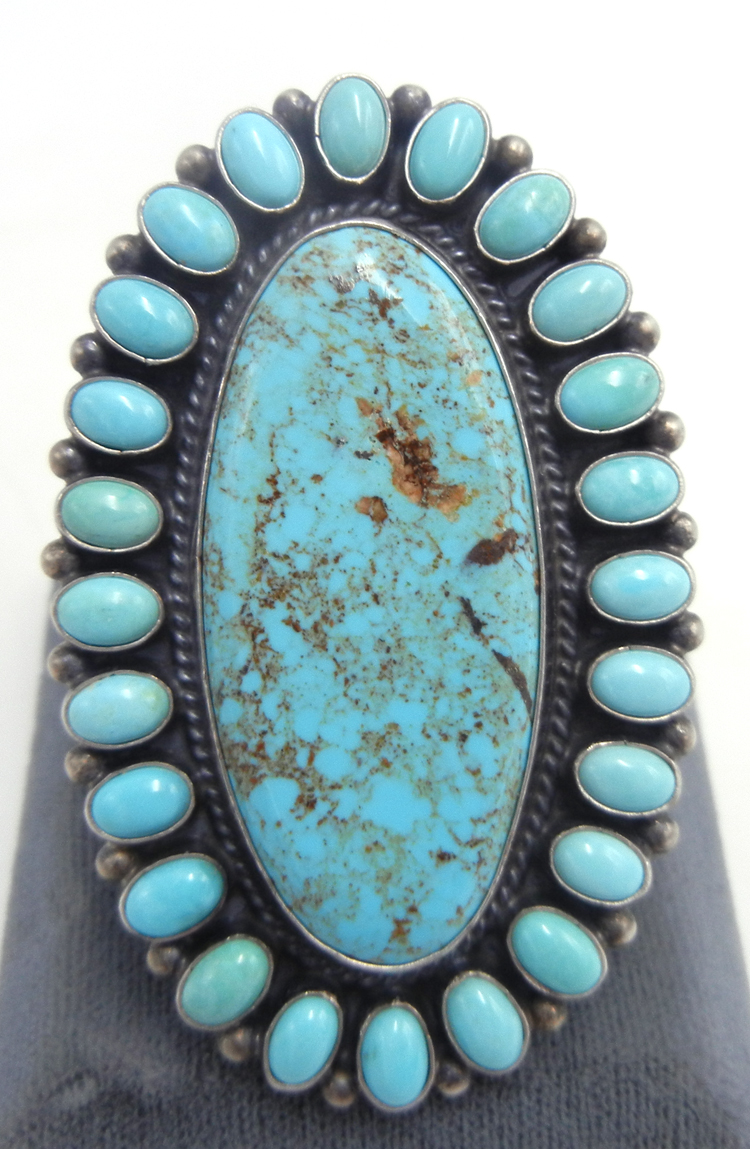 Navajo Kingman turquoise and sterling silver large cluster ring