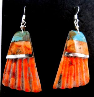 Santo Domingo shell and multi-stone and sterling silver inlay dangle earrings