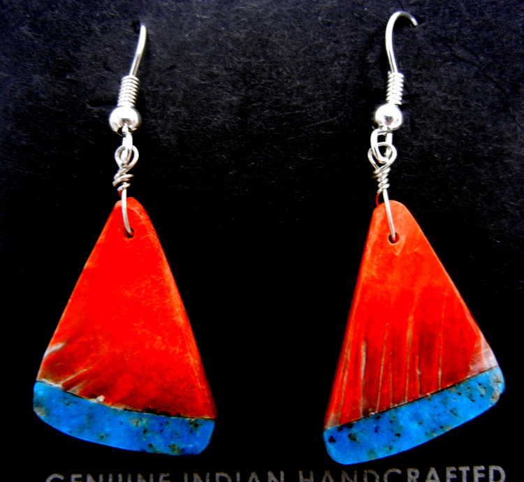 Santo Domingo red spiny oyster shell and turquoise inlay slab earrings