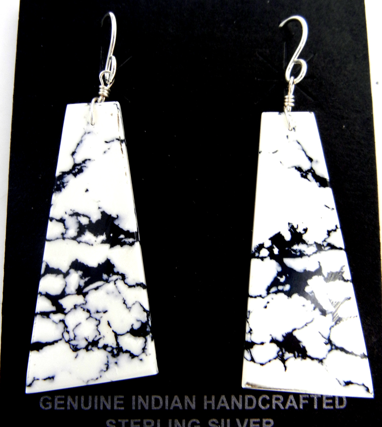 Santo Domingo triangular White Buffalo slab earrings by Ronald Chavez