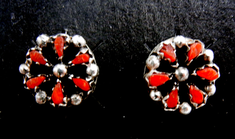 Zuni small coral and sterling silver rosette post earrings
