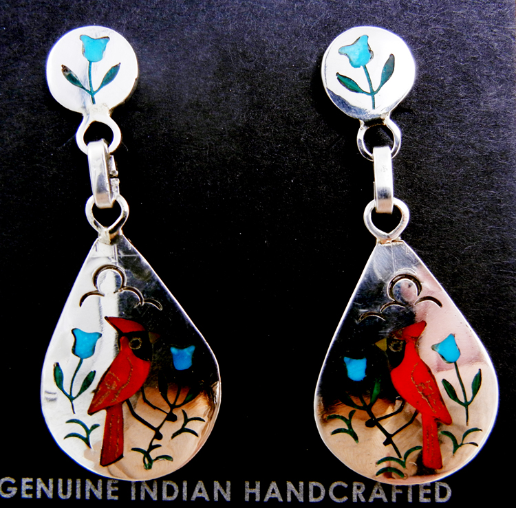 Zuni multi-stone inlay and sterling silver cardinal earrings by Sammy and Ester Guardian