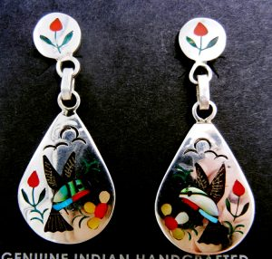 Zuni multi-stone inlay and sterling silver hummingbird earrings by Sammy and Ester Guardian
