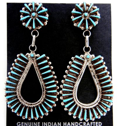 Zuni turquoise needlepoint and sterling silver tear drop shaped dangle earrings