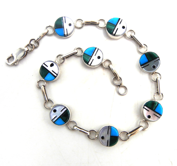 Zuni multi-stone inlay and sterling silver sunface link bracelet