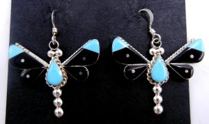 Zuni turquoise, jet, and sterling silver inlay dragonfly dangle earrings by Leagus Ahiyite