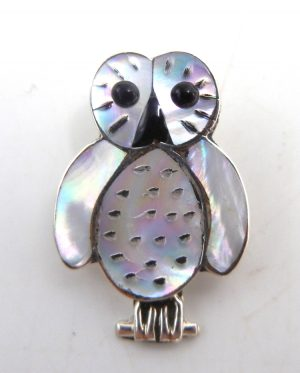Zuni small white mother of pearl, jet, and sterling silver inlay owl pendant
