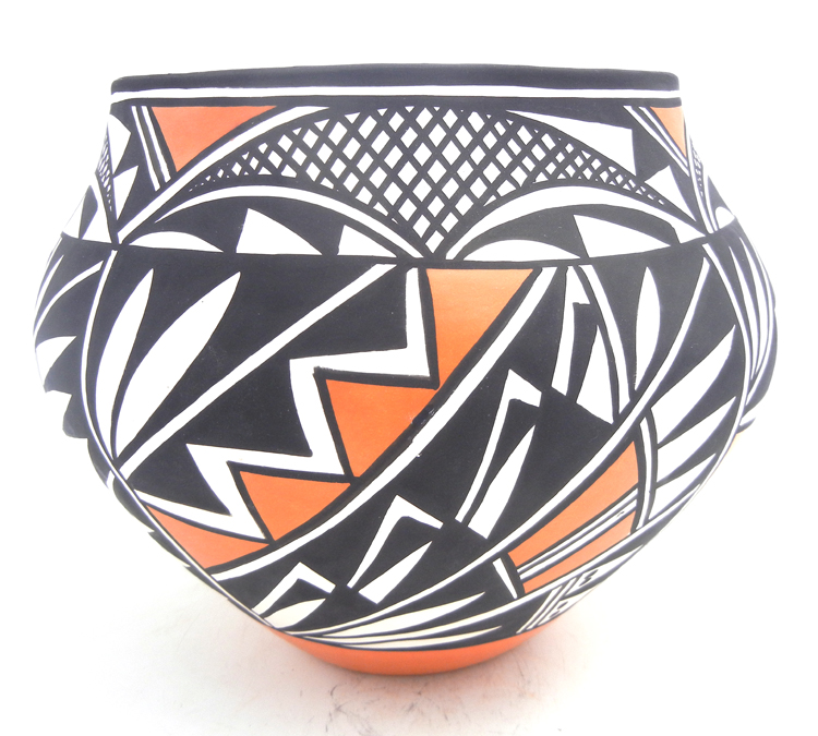 Acoma large polychrome handmade and hand painted weather and feather pattern jar by Loretta Joe