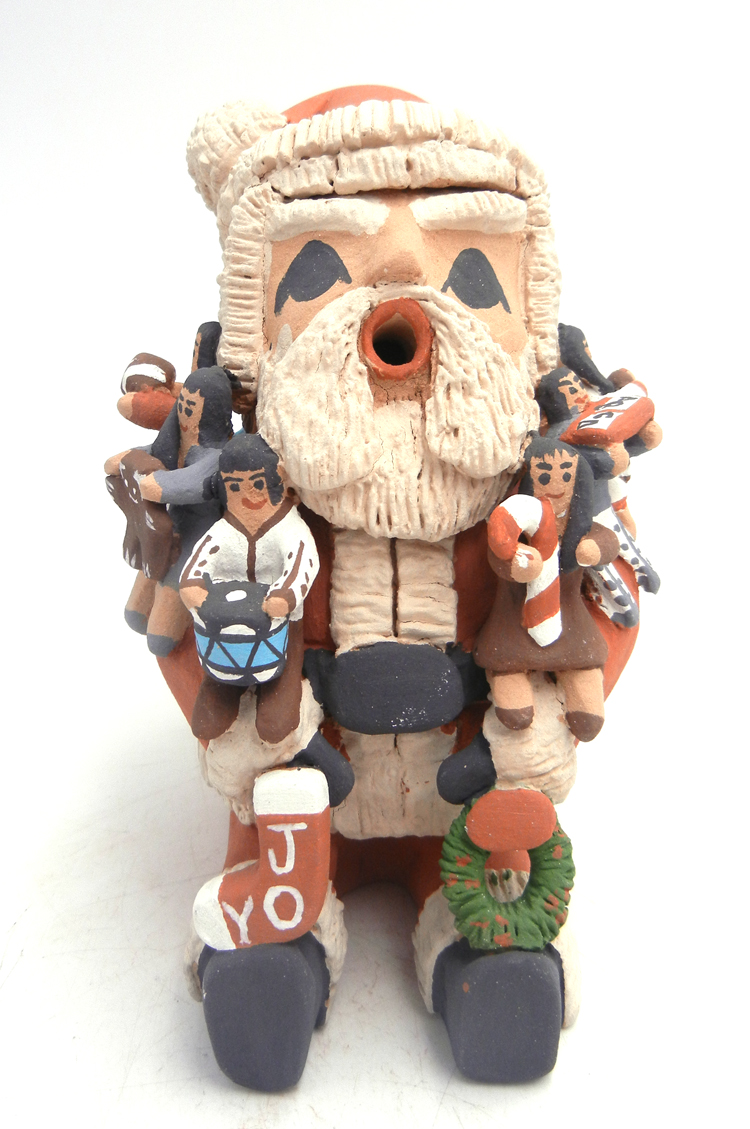 Jemez Santa Claus storyteller with eight children by Deborah