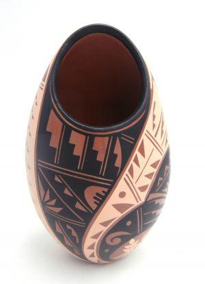Jemez handmade and hand painted polychrome tear drop vase by Geraldine Sandia