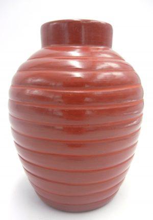 Santa Clara red polished swirl vase by Alvin Baca