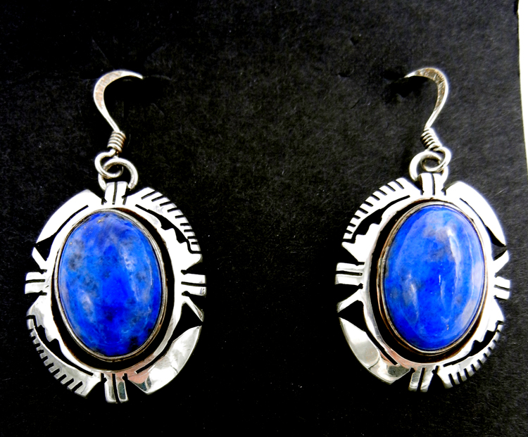 Navajo denim lapis and sterling silver dangle earrings by Eddie Secatero