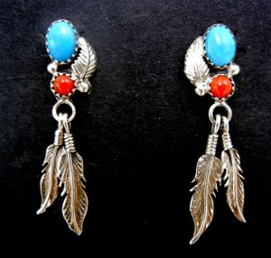 Navajo turquoise, coral, and sterling silver double feather dangle earrings