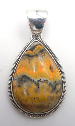 Navajo bumblebee jasper and sterling silver pendant by Rydell Billie