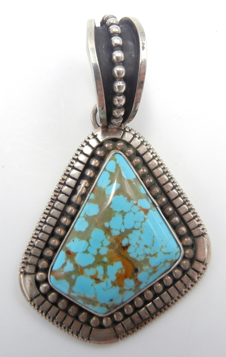 Navajo Kingman turquoise and applique sterling silver dot pendant by Johnathan Nez