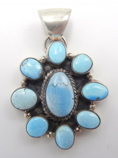 Navajo Golden HIll turquoise and sterling silver cluster pendant