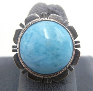 Navajo Larimar and sterling silver ring