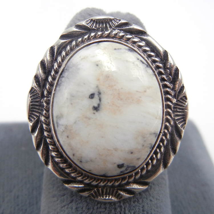Navajo howlite and sterling silver ring by Will Denetdale