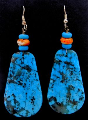 Santo Domingo turquoise slabs with orange spiny oyster shell beads by Lupe Lovato