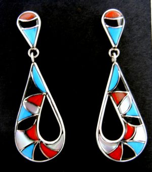 Zuni multi-stone inlay and sterling silver tear drop cut out dangle earrings