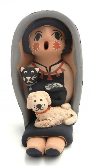 Jemez small seated storyteller with dog and black cat by Chrislyn Fragua
