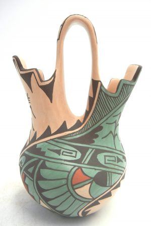 Jemez handmade and hand painted polychrome wedding vase with weather, feather, and corn stalk designs by Juanita Fragua