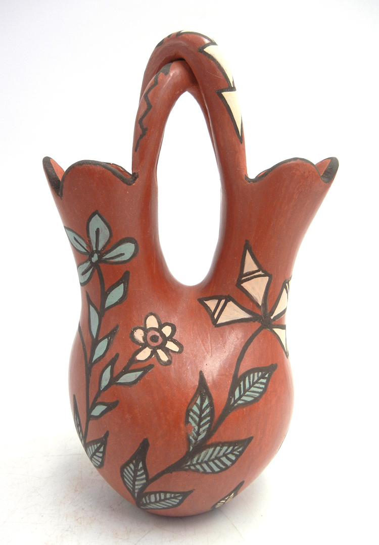 Jemez red polished and painted handmade wedding vase with twisted handle and flower designs by Juanita Fragua