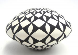 Laguna handmade and hand painted black and white eyedazzler design seed pot by Robert Kasero