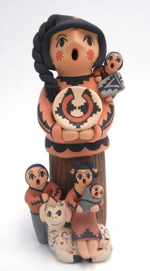 Jemez standing storyteller figurine with four children and lamb by Chrislyn Fragua
