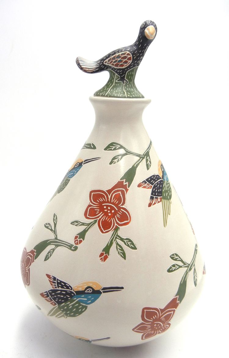 Mata Ortiz handmade etched and painted polychrome lidded bird vase by Jorge Corona Guillen