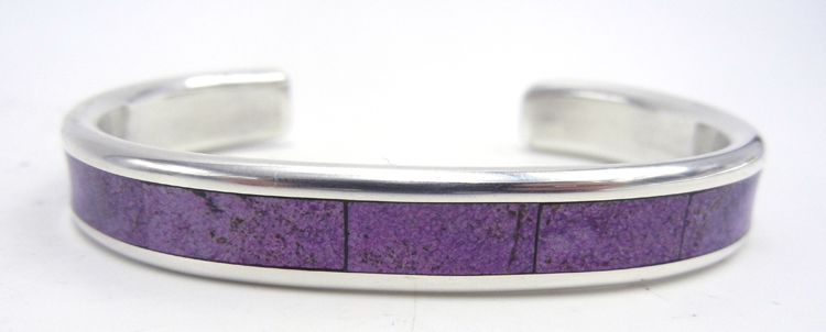 Navajo charoite and sterling silver channel inlay cuff bracelet by Larry Loretto