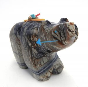 Navajo large Picasso marble carved stone bear fetish by Stewart Alonzo