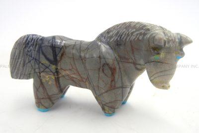 Zuni Picasso marble carved stone horse fetish by Freddie Leekya