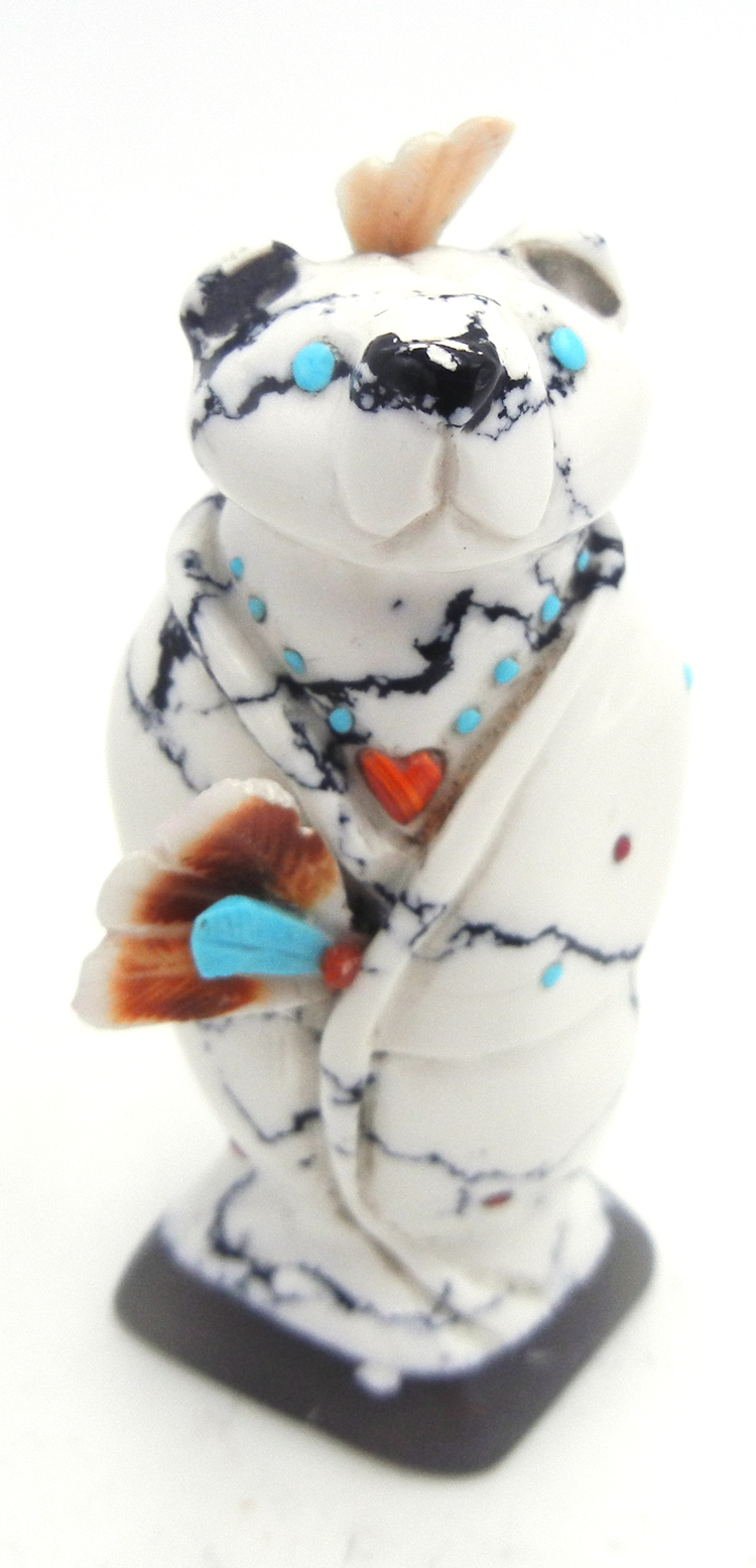 Zuni howlite carved stone bear fetish with turquoise, coral, and shell accents by Hudson Sandy