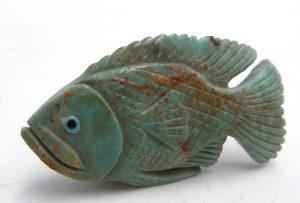 Zuni Kingman turquoise carved stone fish fetish by Hudson Sandy