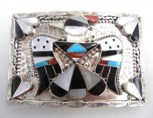 Zuni multi-stone inlay and sterling silver thunderbird belt buckle by Bobby and Corraine Shack