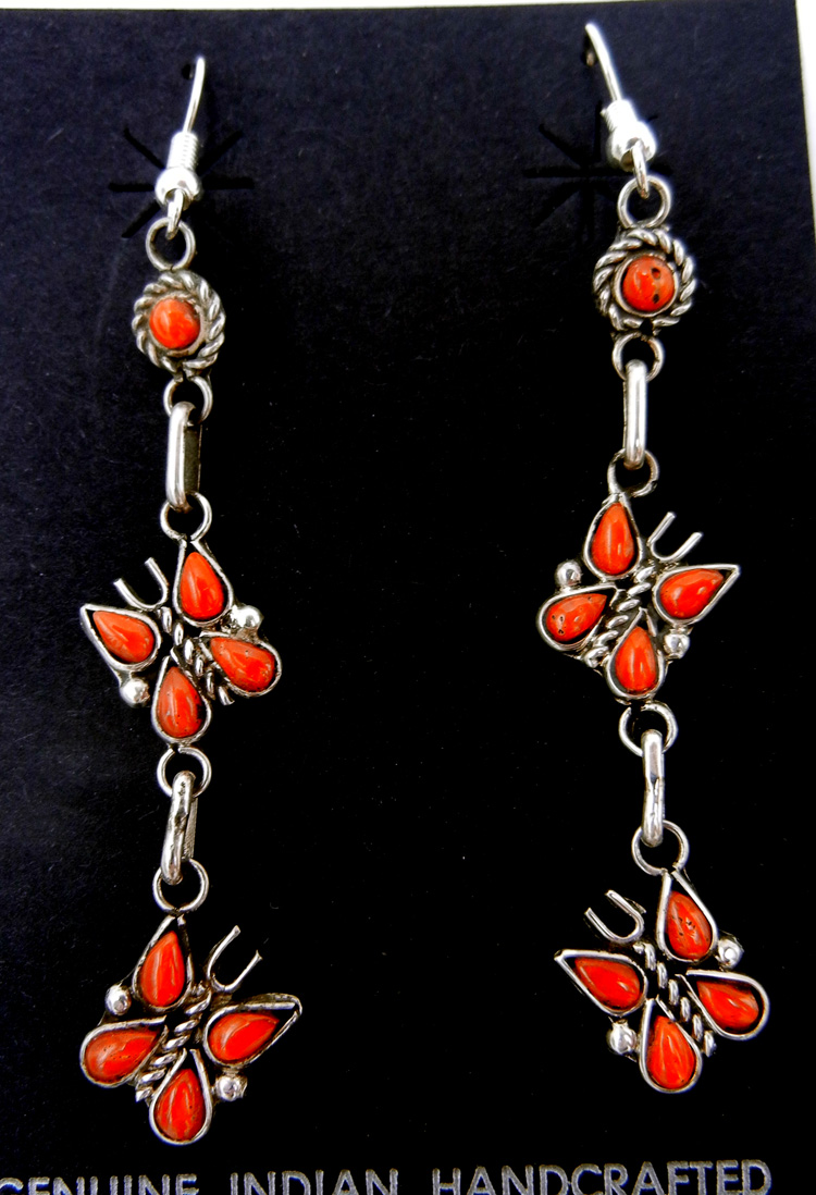 Zuni coral and sterling silver double butterfly dangle earrings